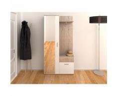 Armoire d'entrée 2 portes 1 tiroir + miroir imitation chêne CHLOÉE - L 197 x l 30 x H 195 - Armoire