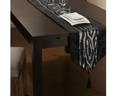 Chemin de table classique en polyester noir à paillettes argent - Autres