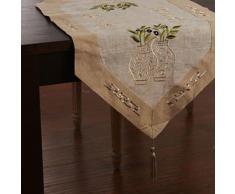 Chemin de table de style méditerranéen à motif floral en lin - Autres