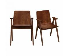 Chaises design vintage noyer lot de 2 DANA - Chaise