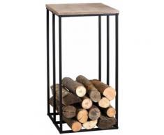 Aubry Gaspard - Sellette porte-bûches en métal et bois Rondo - Accessoires cheminées et poêles