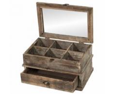 Boîte Coffre Coffret de Rangement à Thé en Bois 40x26x21 cm - Objet à poser