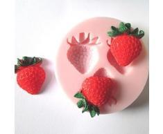 Alpexe Moule de Cuisson FRAISES 3D Pour Gâteau Pour Cookie Pour Tarte Silikon Ecologique - Ustensiles