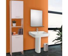 Meuble colonne salle de bain en bois design hêtre portes blanches - Accessoires salles de bain et WC