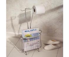 Serviteur wc en métal filaire avec deux dérouleurs et porte revue en H.59.5cm AXIS - Accessoires salles de bain et WC