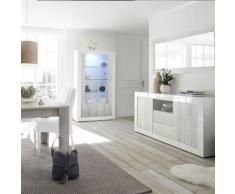 Nouvomeuble - Salle à manger blanc laqué complète urban 3 - Tables salle à manger