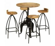 T-Shell Meuble de bar 5 pcs Bois massif de manguier - Tables de cuisine