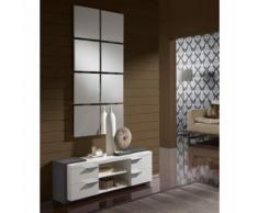 Meuble d'entrée Blanc/Cendre + miroir - NAVE - Commodes