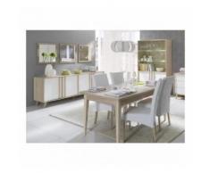 Salle à manger complète MALMO. Buffet, bahut + vaisselier + 3 x miroirs + Table 160 cm. Coloris sonoma et blanc mat - Buffets