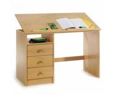 Bureau enfant 3 tiroirs lasuré couleur hêtre - Bureaux