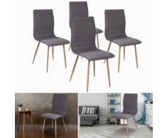 Chaises X4 Polga capitonnées tissu gris pour salle à manger - Accessoires salles de bain et WC