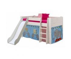 Lit mi-hauteur en Pin blanchi, avec toboggan et habillage de lit Thème Circus 90x190 cm - PEGANE - - Cadre de lit