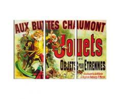 Vintage Poster Reproduction Sur Toile, Tendue Sur Châssis - Aux Buttes Chaumont, Jouets Et Objets Pour Étrennes, Jules Cheret, 1885, 3 Parties (80x120 cm) - Décoration murale