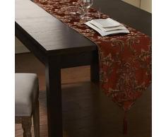 Chemin de table classique en polyester rouge et broderie doré - linge de table et décoration