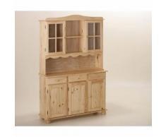 Vaisselier bahut buffet commode rangement meuble cuisine vitrine pin BLANC - Vaisseliers