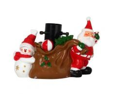 Pied de sapin de noël en résine décoration hotte cadeaux 23x32x16 cm marron, rouge, noir et blanc codico 5pds011 - Objet à poser