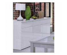 Buffet, bahut, enfilade 3 portes et 3 tiroirs FABIO + Miroir. Coloris blanc brillant. Meuble pour salon salle à manger - Buffets