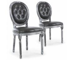 Lot de 2 chaises de style médaillon Louis XVI Bois noir patiné argent & Simili capitonné gris - Chaise