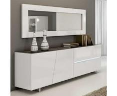 Enfilade design laqué blanc 200 cm LAUREA, 3 portes - 1 tiroir - L 200 x P 50 x H 75 cm - Buffets