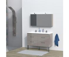 Ensemble meuble sous-vasque + vasque résine + 2 armoires avec miroir MILANO / Taupe - Meubles de salle de bain