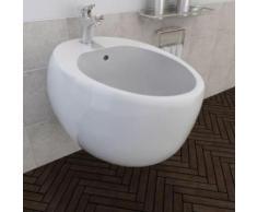 Bidet suspendu en céramique sanitaire blanc - Installations salles de bain