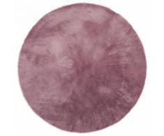 Tapis enfant pilepoil - Rond mauve D 140 cm - fausse fourrure - Fabrication Française - Tapis et paillasson