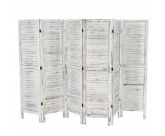 Paravent /séparation bois, 6 pans, 276x2x170cm, shabby, vintage, blanc - Objet à poser