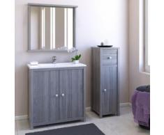 Ensemble meuble sous-vasque + vasque résine + miroir 1 tablette GALET / Gris - Meubles de salle de bain