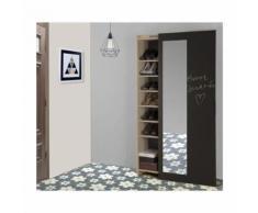 ADAM Meuble a chaussures industriel décor châtaignier naturel et mélamine gris anthracite - porte coulissante - - Armoire