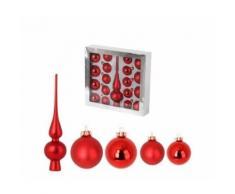 Set de 19 boules de noel en verre avec 1 cimier - oe 6 / 5 cm - oe 6 x h 27 cm - rouge - Objet à poser