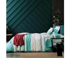 Taie d'oreiller Vienna BLANC DES VOSGES, turquoise 65 x 65 cm - Linge de lit