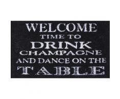 Humour Paillasson Essuie-Pieds - Welcome, Time To Drink Champagne And Dance On The Table (40x70 cm) - Tapis et paillasson