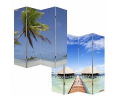 Paravent / cloison deséparation M68, 4 pans, 160x180cm, motif plage - Objet à poser