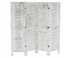 Paravent /séparation bois, 4 pans, 182x2x170cm, shabby, vintage, blanc - Objet à poser