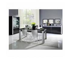 Salle à manger complète LINA noire et blanche. Table 160 cm + Buffet + 3 x Miroirs + Vaisselier (led) - Buffets