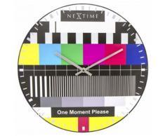 NeXtime NE-3162 Horloge murale Dia. 35 cm, globe terrestre, multicolore, 'Testpage Dome' - Décoration murale