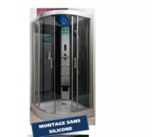 Aqua+ - Cabine de douche hydromassante 100x100 cm + Led , radio - SKADI - Installations salles de bain
