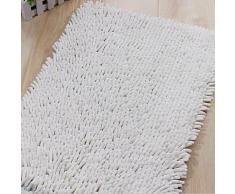 Tapis de bain en chenille à poils longs Blanc - Accessoires de bain
