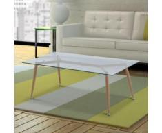 Table basse rectangulaire scandinave verre trempé - Tables basses