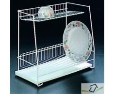 Metaltex 32424414080 lagon egouttoir 2 étages avec plateau métal blanc 43,5 x 22 x 36,5 cm - Ustensiles