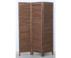 Paravent persienne de 3 pans en bois, coloris brun - Dim : H170 x L120cm - PEGANE - - Objet à poser