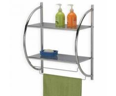 Etagère de salle de bain murale JANINE meuble de rangement à fixer avec 2 tablettes et 2 barreaux porte-serviettes, en métal chromé - Étagère