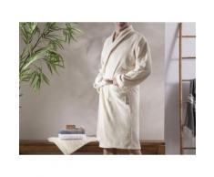 Peignoir de bain col châle uni 100% coton 360gr/m2 JULES naturel L/XL - Linge de bain