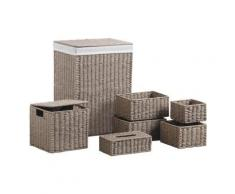 Panier à linge avec corbeilles en papier cordé taupe -PEGANE- - Accessoires de bain