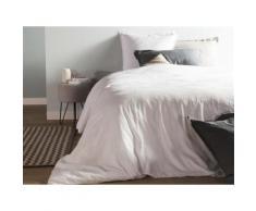 Taie d'oreiller unie lin et coton lavé volant 2 cm HORTENSE 50x70cm blanc - Linge de lit
