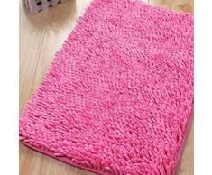 Tapis de bain en chenille à poils longs Rose - Accessoires de bain
