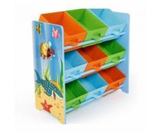 Meuble de rangement étagère jouet panier chambre enfant motif mer APE06026 - Objet à poser