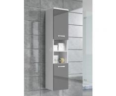 Armoire de rangement Paso Hauteur : 160 cm Gris brillant - Meuble de rangement haut placard meuble de salle de bain - Installations salles de bain