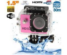 Caméra sport WiFi embarquée plongée caisson 12MP Full HD 1080P Rose - Caméscope à carte mémoire