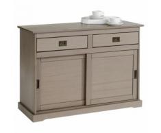 Buffet SAVONA bahut vaisselier commode avec 2 tiroirs et 2 portes coulissantes, en pin massif lasuré taupe - Buffets